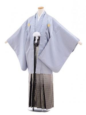 ジュニア袴男児9700 グレー地紋付×グレーぼかし ゴールド縞袴