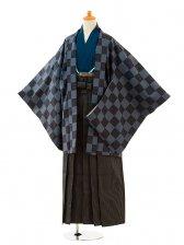 ジュニア袴男児9103黒市松×黒縞袴