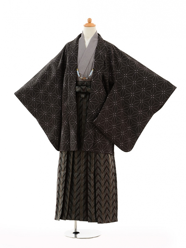 小学生卒業式袴男児9129黒麻の葉×黒袴