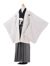 ジュニア袴男児9413白ゴールドドット紋付×黒太縞
