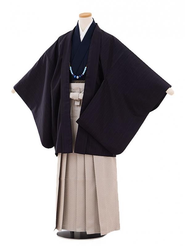 ジュニア袴男児9437 黒地ストライプ×グレー袴