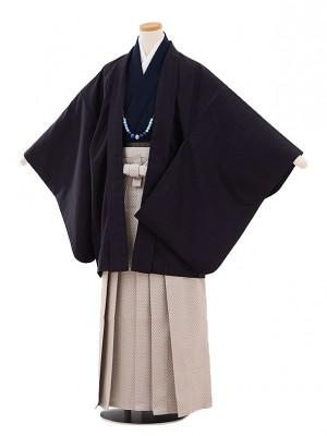 小学校 卒業式 男の子 袴 9437 黒地ストライプ×グレー袴