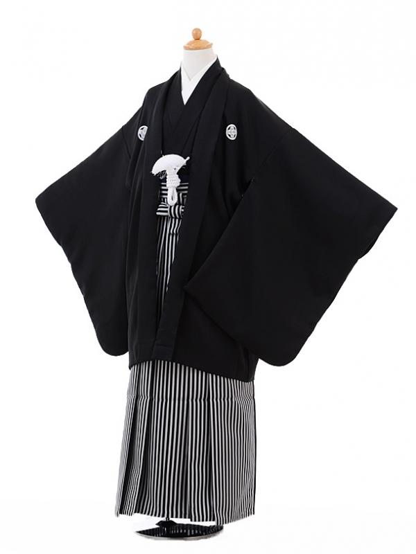 小学生卒業式袴男児9326黒紋付×黒縞