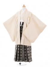 ジュニア袴男児9333クリーム色紋付×黒ゴールド袴