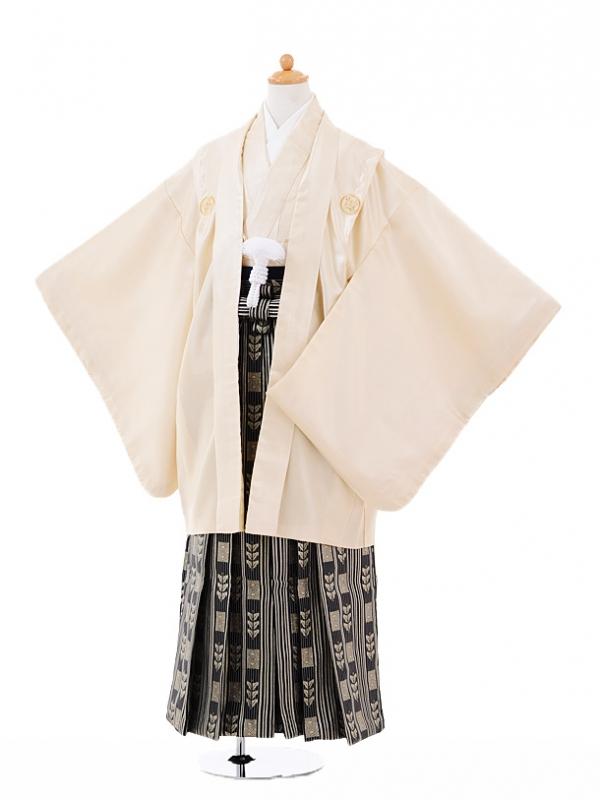 小学生卒業式袴男児9333クリーム色紋付×黒ゴール