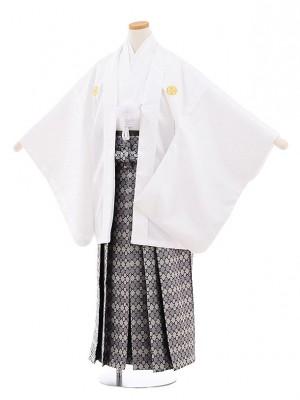 小学校 卒業式 男の子 袴 9452 白地菱柄紋付×グレー袴