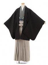 ジュニア袴男児9128黒ドット×ベージュ縞袴