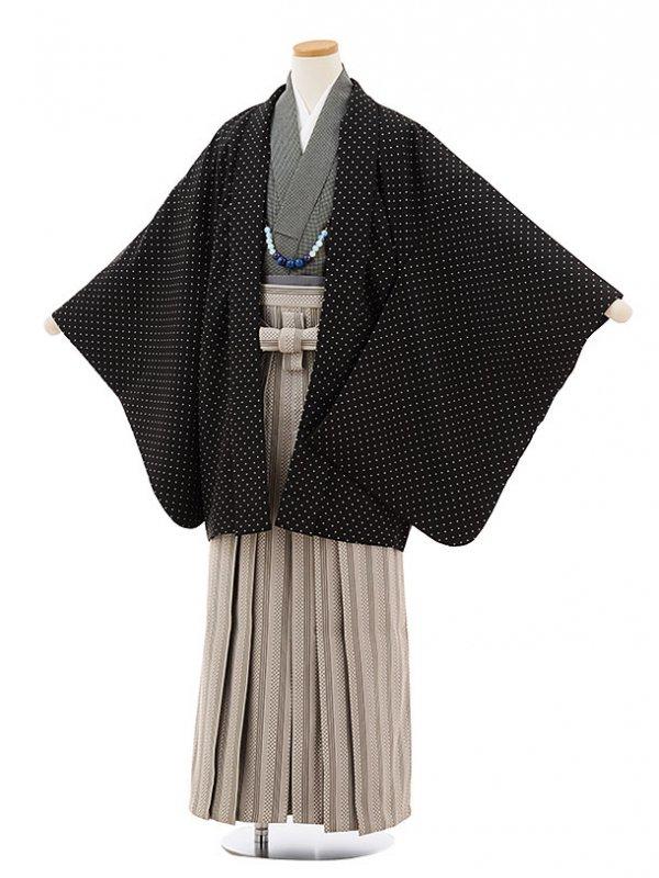小学生卒業式袴男児9128黒ドット×ベージュ縞袴