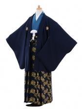 ジュニア袴男児9372紺紋付×紺ゴールド袴
