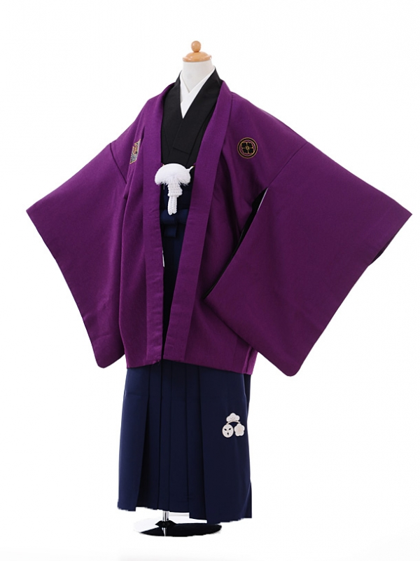 小学生卒業式袴男児9374小町Kids紫×紺袴