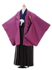 ジュニア袴男児9412紫紋付×黒ストライプ袴