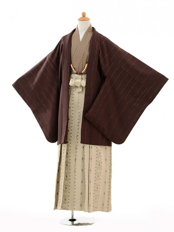 小学生卒業式袴男児9112茶色×ベージュ袴