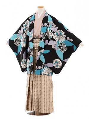 小学校 卒業式 男の子 袴 9438 黒地ブルーに菊×ベージュ袴