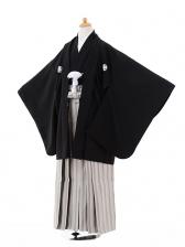 小学生卒業式袴男児9336黒紋付×グレー袴