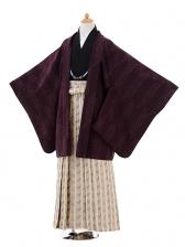 小学生卒業式袴男児9339赤紫矢絣×ベージュ袴