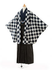 小学生卒業式袴男児9104紺市松×黒縞袴