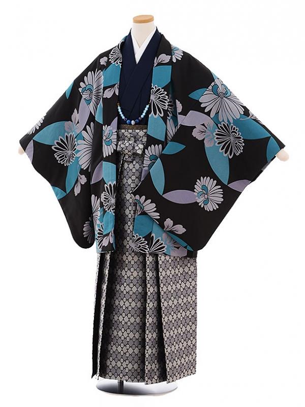 ジュニア袴男児9443 黒地ブルーに菊×グレー袴