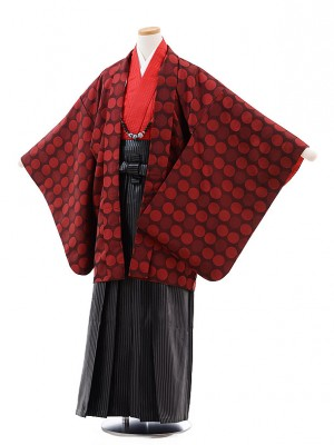 小学校 卒業式 男の子 袴 9722 赤水玉×黒ラメ縞袴