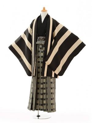 小学生 卒業式 袴 男児 9106黒ベージュ縞×黒ゴール