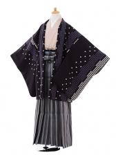 ジュニア袴男児9343黒千鳥格子×黒白縞袴