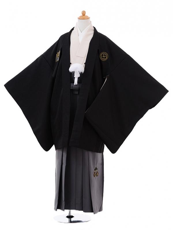 小学生卒業式袴男児9373小町Kids黒×グレー袴