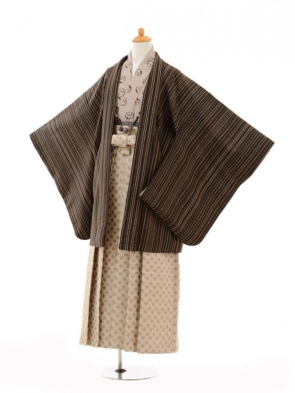 小学生卒業式袴男児9130ブラウンストライプ×ベージ