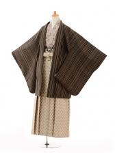 ジュニア袴男児9130ブラウンストライプ×ベージュ袴