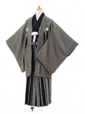ジュニア袴男児9327黒ゴールド紋付×黒柄ストライプ