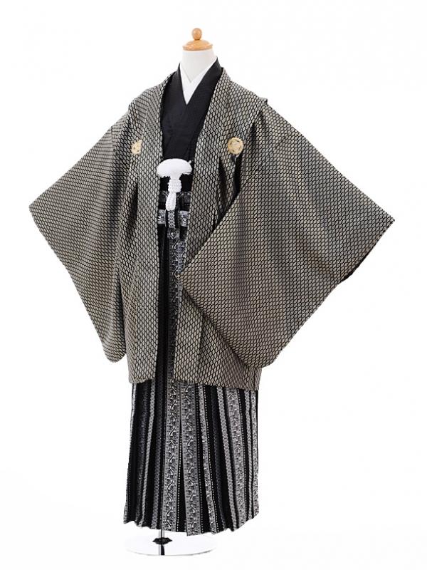 小学生卒業式袴男児9327黒ゴールド紋付×黒柄