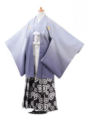小学校 卒業式 男の子 袴 9423ブルーグレーぼかし紋付×白黒