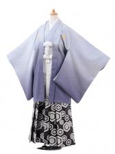 ジュニア袴男児9423ブルーグレーぼかし紋付×白黒