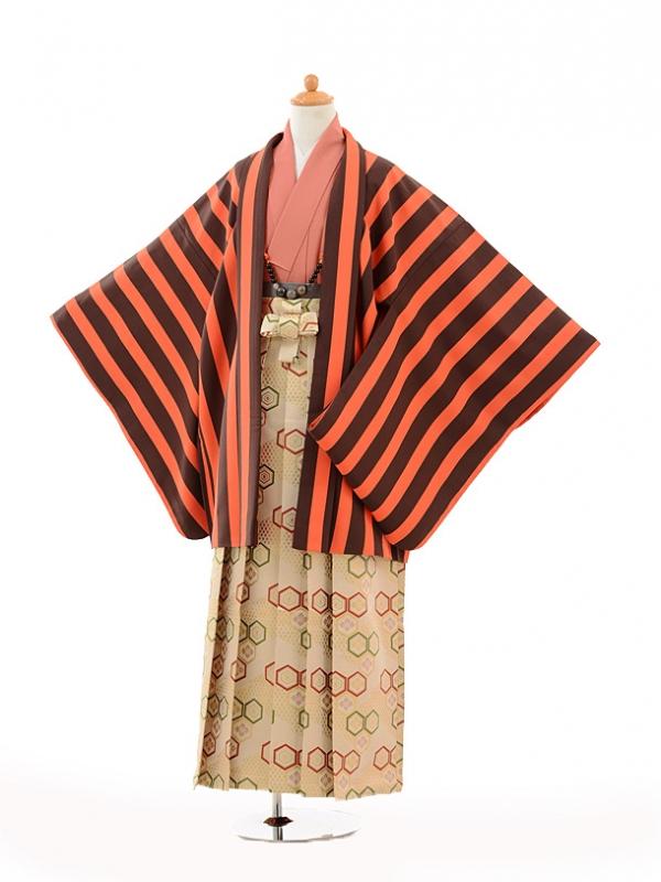 小学生卒業式袴男児9117オレンジストライプ×ベージ