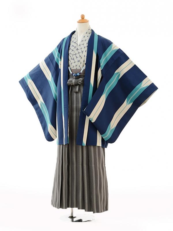 小学生卒業式袴男児9115青矢絣×黒縞袴
