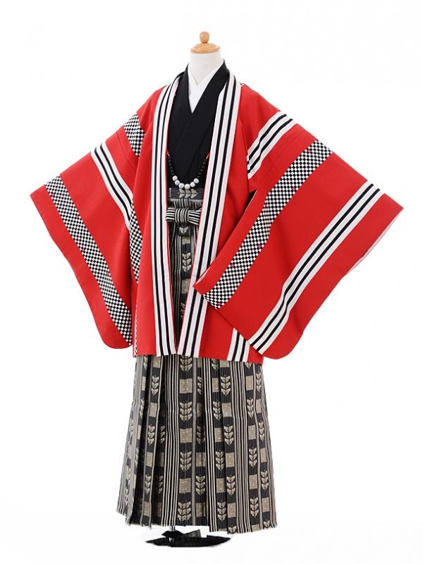 小学生卒業式袴男児9334赤ストライプ×黒ゴールド