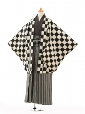 小学生卒業式袴男児9120黒市松×黒シルバー袴