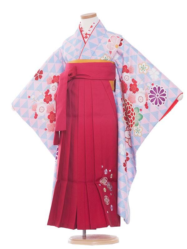 女児袴(7女)9175 水色地/うろこ柄・梅/レッド・ピンク袴