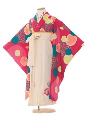 女児袴(7女)9121 ワイン地×花とドット柄袴65