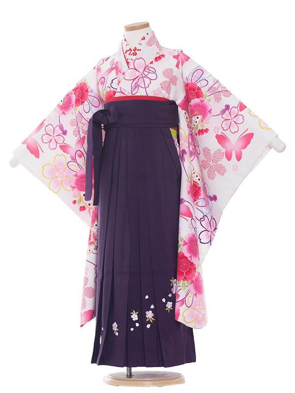 女児袴(7女) 9058 白/ピンクの華/袴