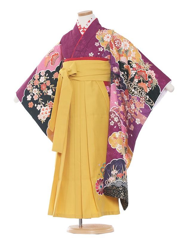 七五三・卒園式袴レンタル(7女)9116 紫地×古典花袴65
