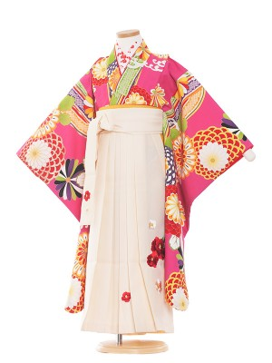 女児袴(7女)9145 ピンク地×菊滝取袴65