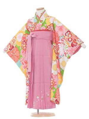 女児袴(7女)9134 黄緑地×乱菊袴65