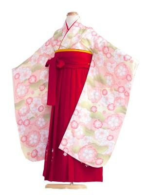 女児袴(7女) 9057 ペールピンク/赤の袴