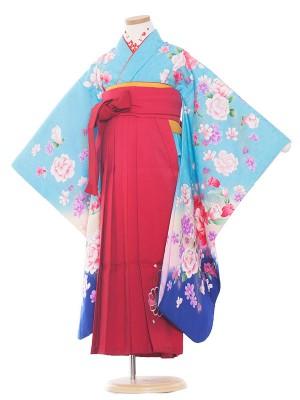 女児袴(7女)9103 水色地×薔薇とリボン袴65