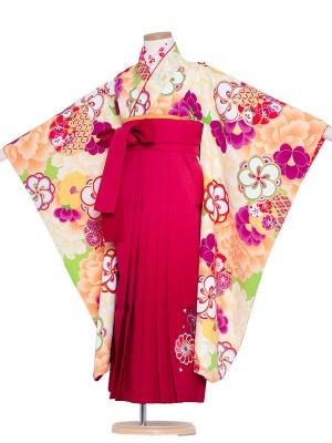 女児袴(7女)9162 花わらべ×緑梅牡丹吉祥袴65