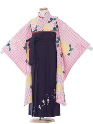女児袴(7女) 9017 ピンク/大華と格子柄/袴