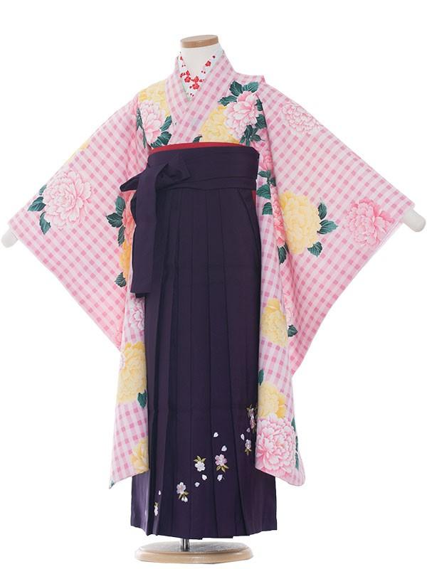 七五三(7女) 9017 ピンク/大華と格子柄/袴