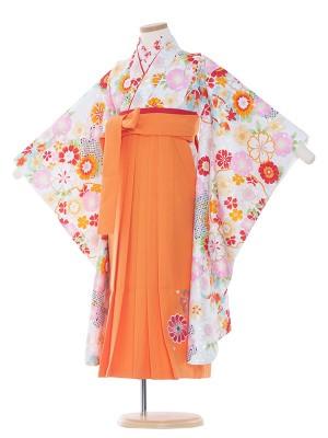 女児袴(7女)9170 白地×小花紋袴65