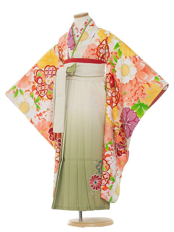 七五三・卒園式袴レンタル(7女)9129 白地×乱菊袴65