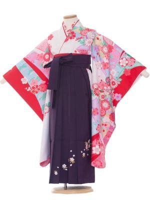 女児袴(7女) 9035 白/束のしと花/袴