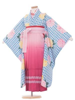 女児袴(7女) 9018 水色/大華と格子柄/袴